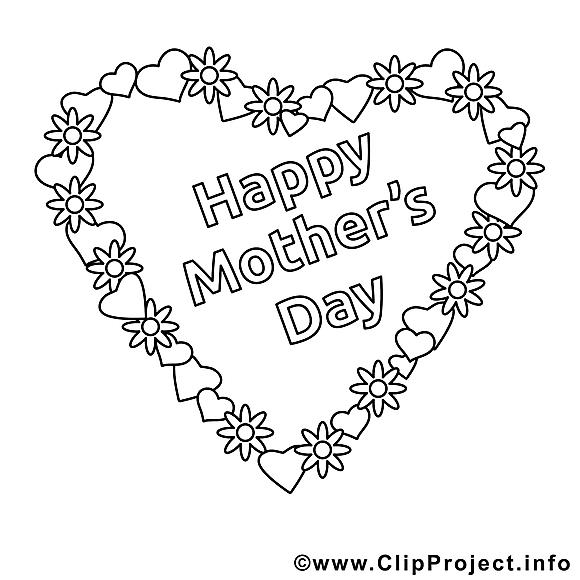 Coloriage fête des mères illustration à télécharger