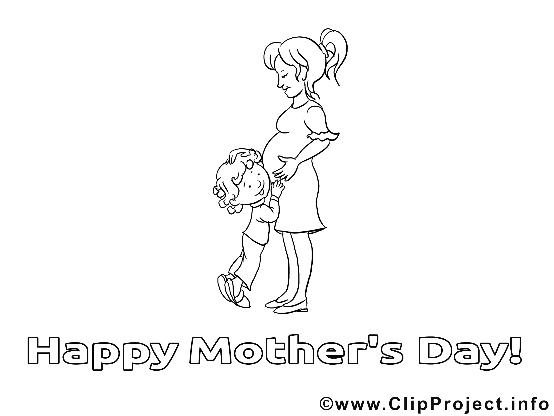 Enceinte image – Coloriage fête des mères illustration