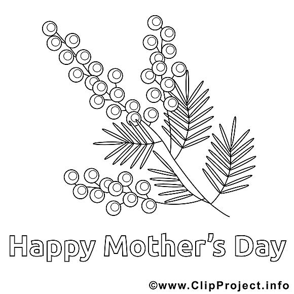 Fleurs image – Coloriage fête des mères illustration