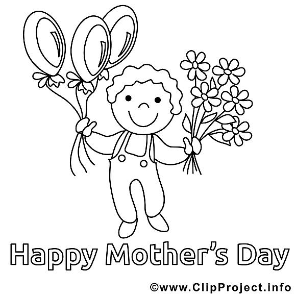 Garçon image gratuite – Fête des mères à colorier