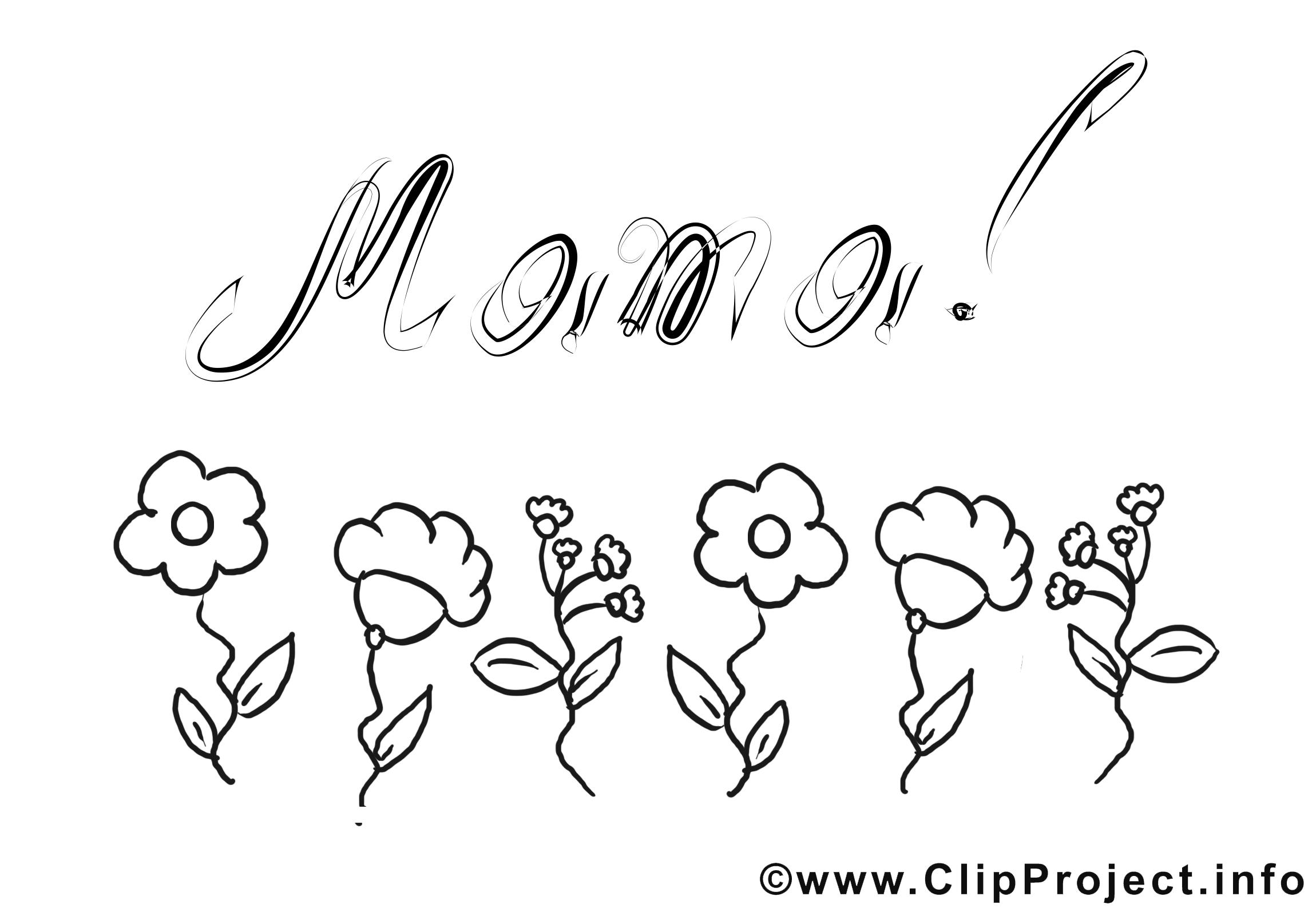 Illustration gratuites carte – Fête des mères à colorier