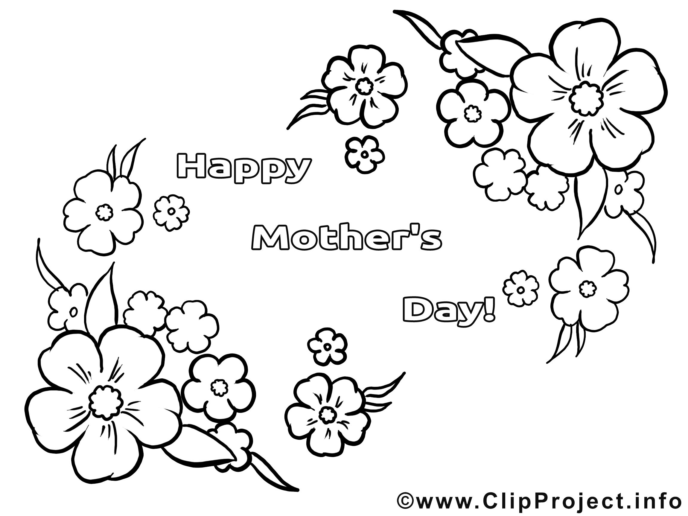 Image gratuite fleurs – Fête des mères à colorier