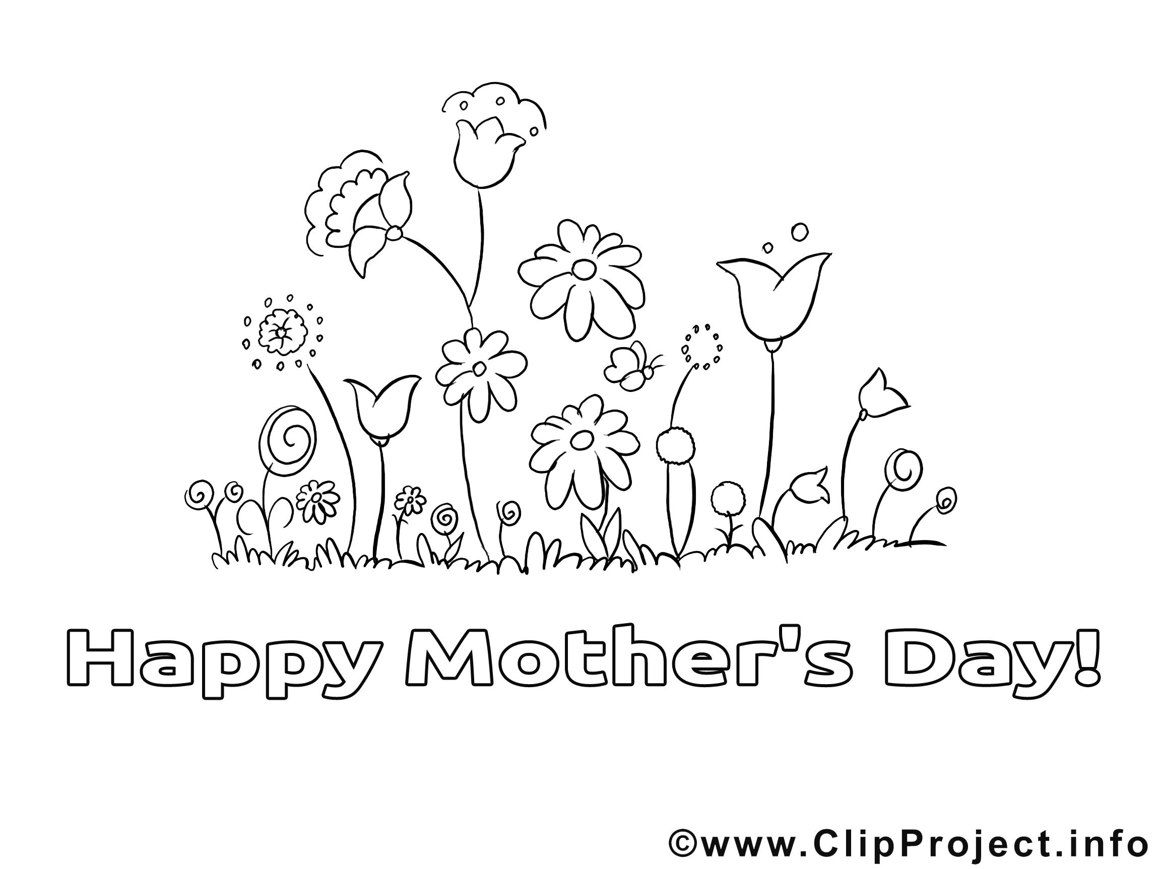 Images gratuites fleurs – Fête des mères à colorier