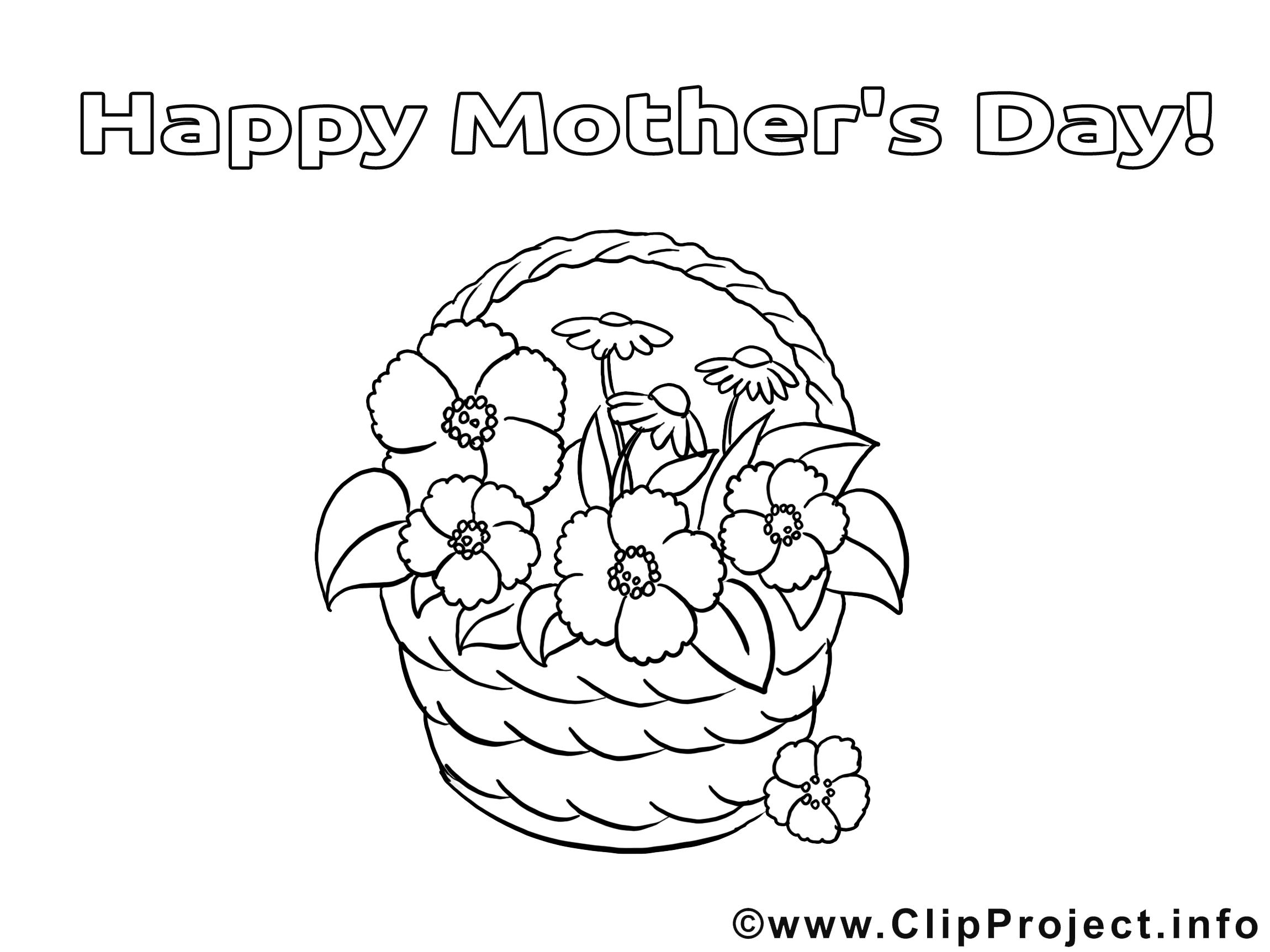 Panier illustration – Fête des mères à imprimer