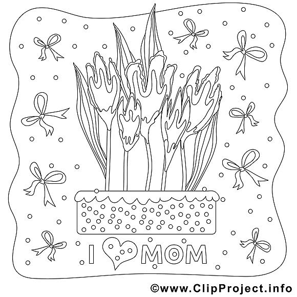 Rubans dessin gratuit – Fête des mères à colorier