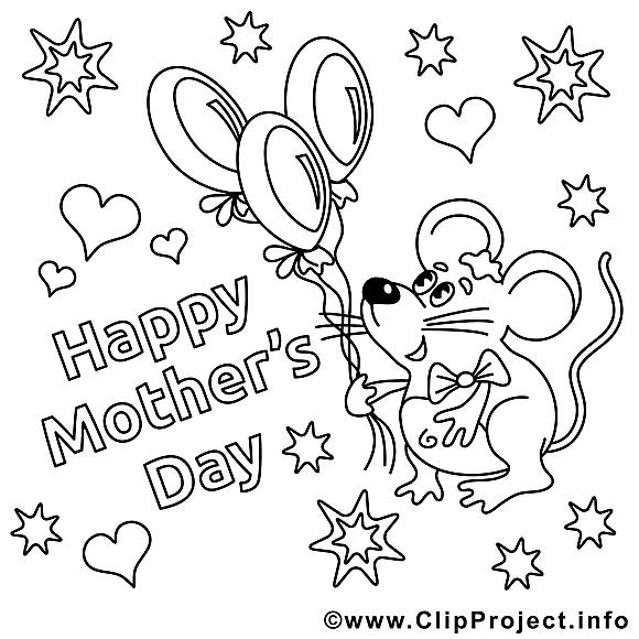 Souris illustration – Fête des mères à imprimer