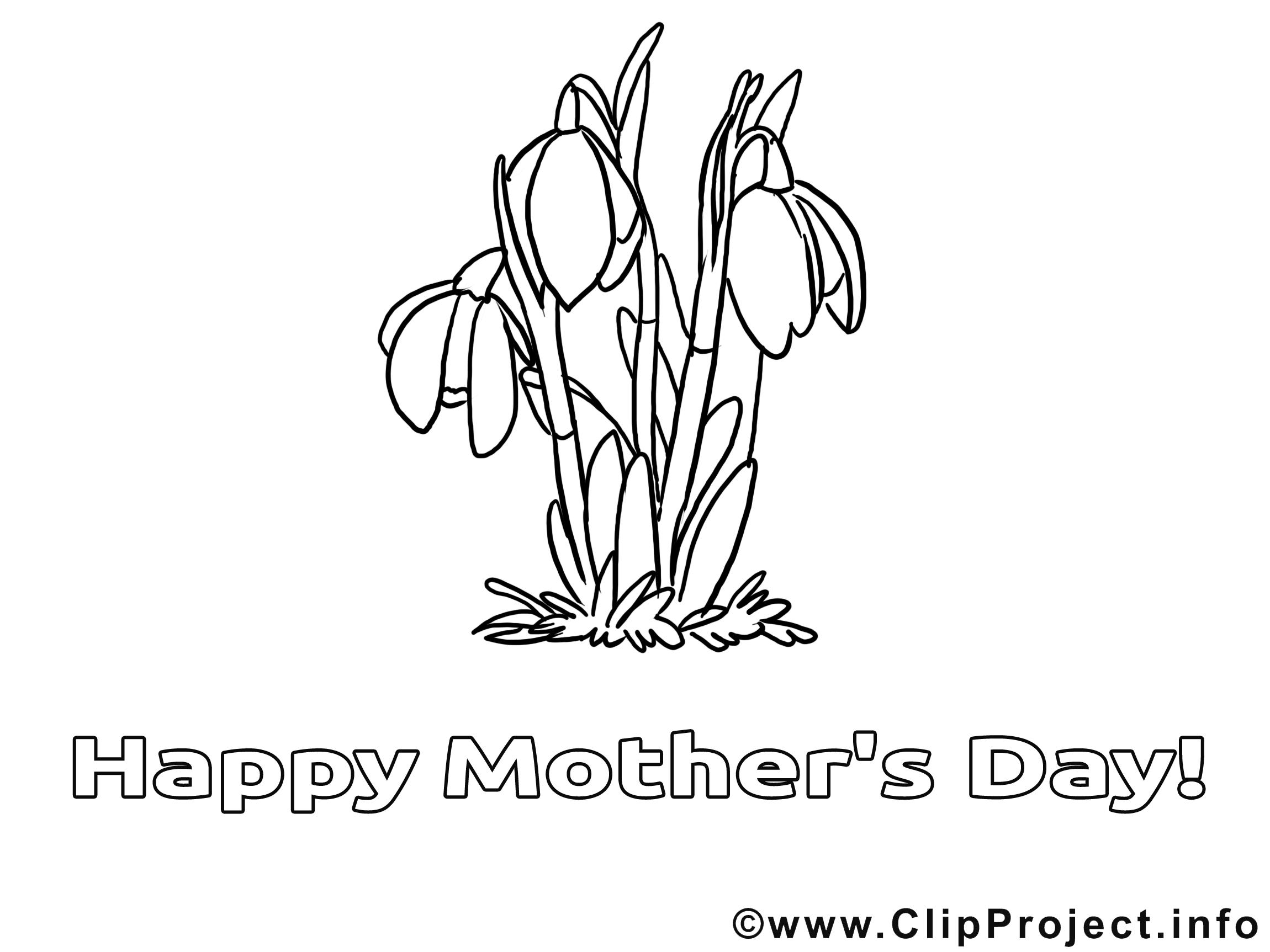 Tulipes clip art – Fête des mères image à colorier