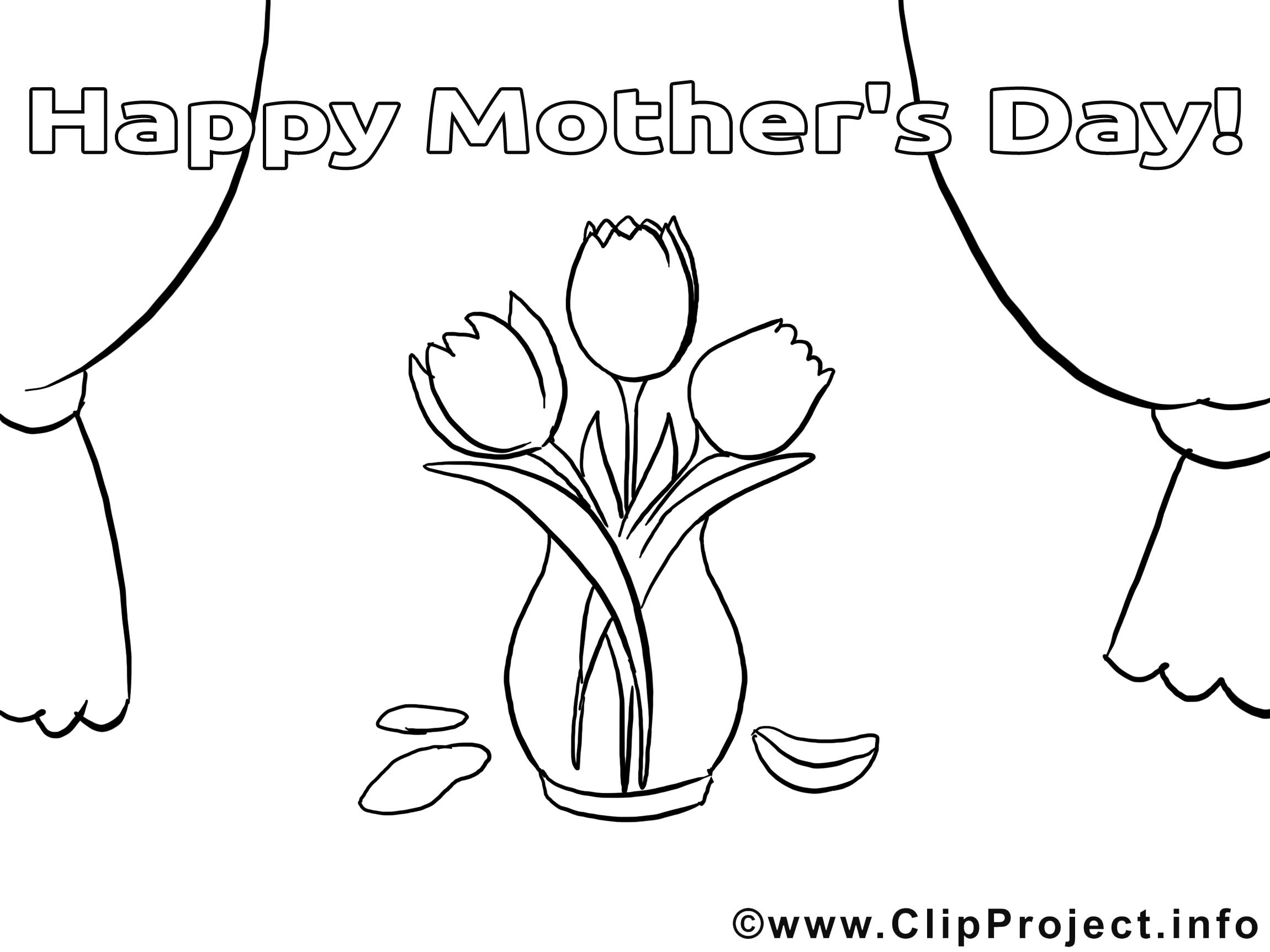 Tulipes dessin gratuit – Fête des mères à colorier