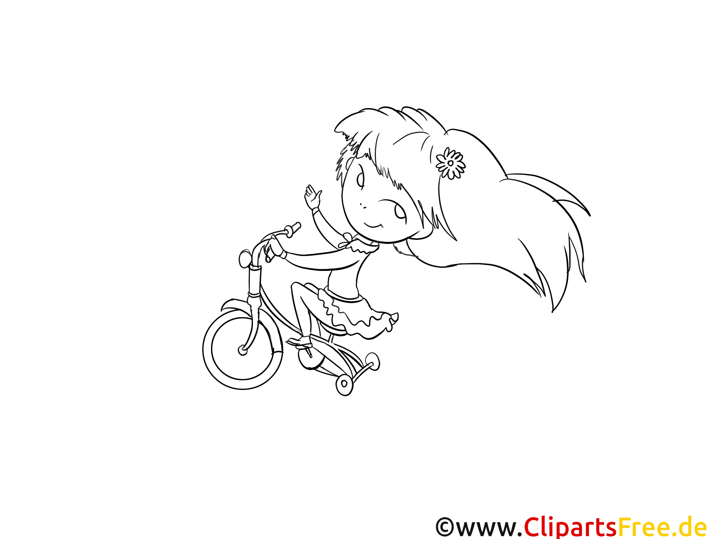 Bicyclette dessin – Coloriage fille à télécharger