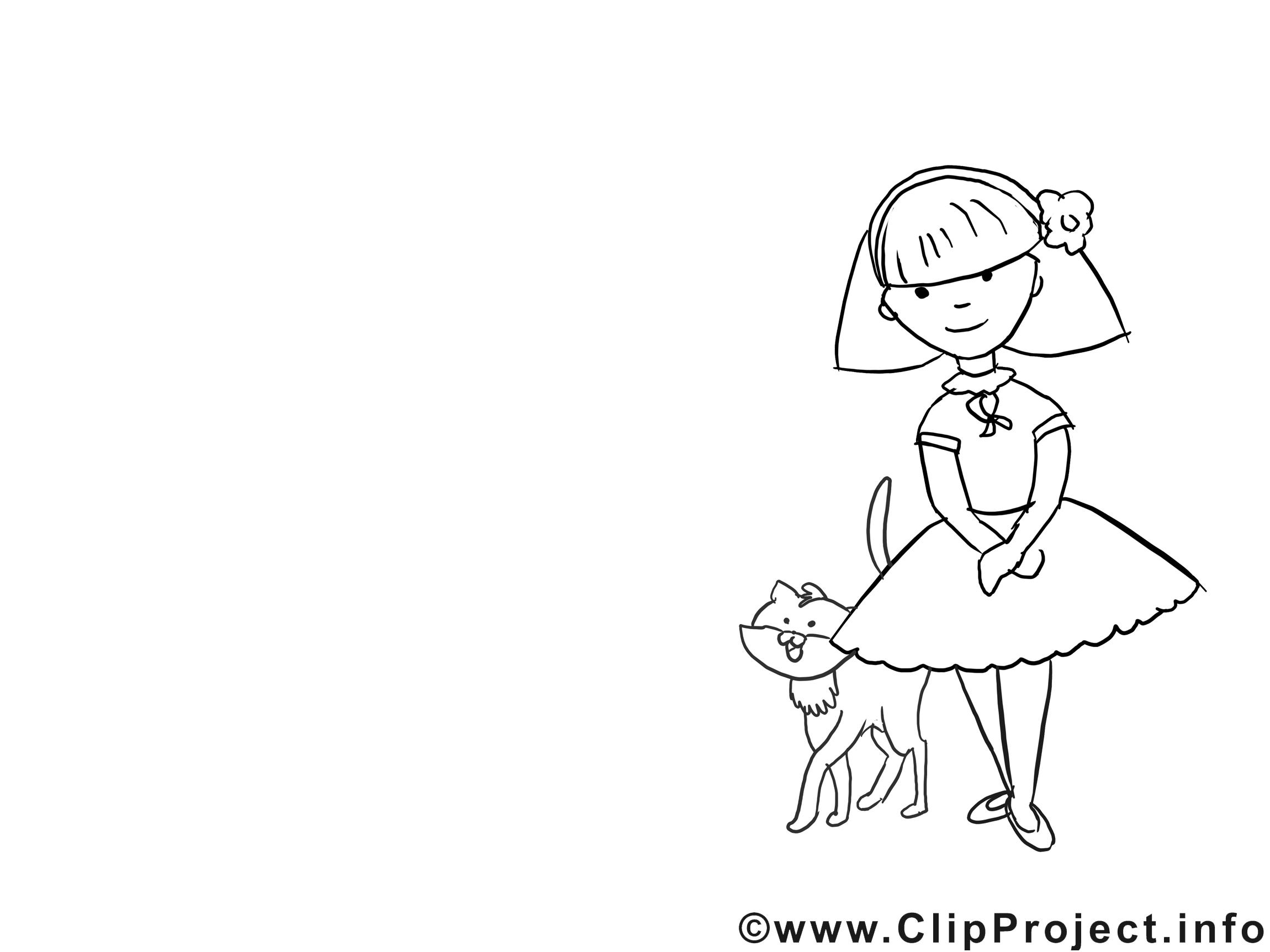 Chat clipart gratuit – Fille à colorier
