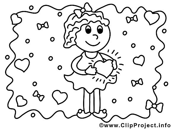 Coeur dessin à télécharger – Fille à colorier