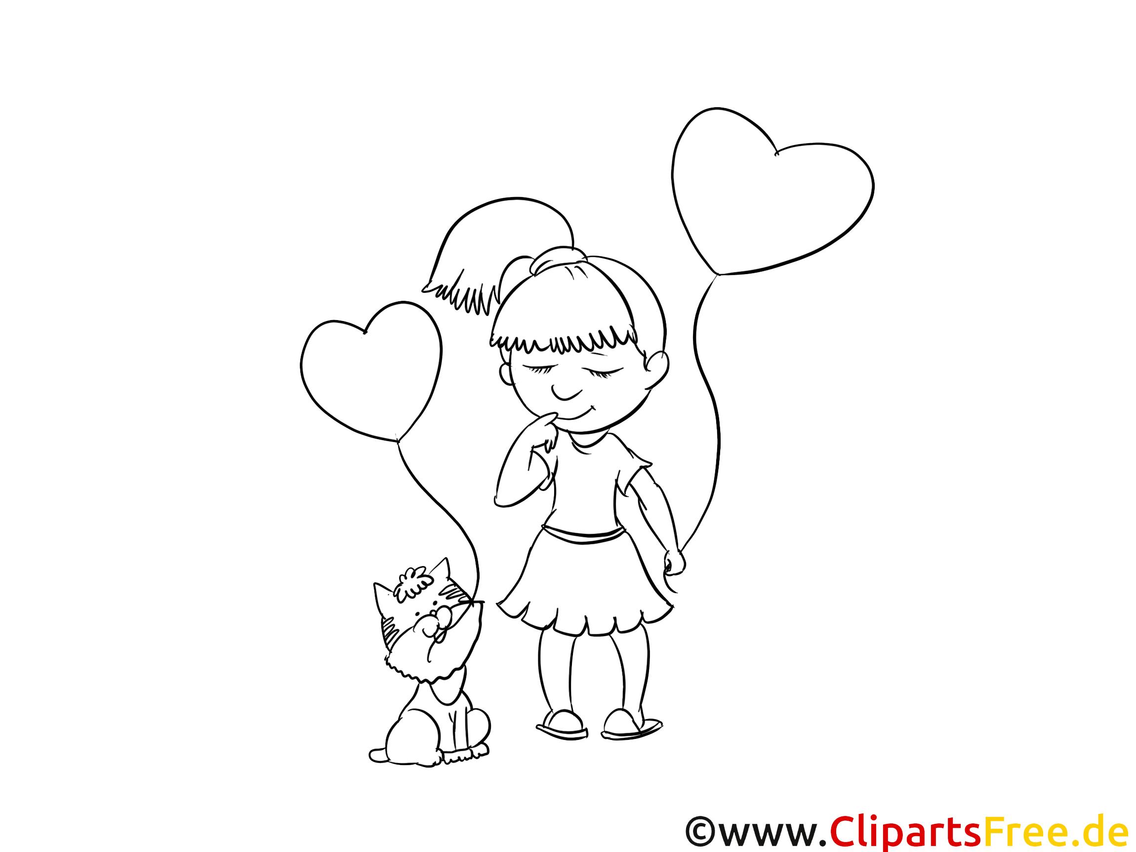 Coeurs clip art – Fille image à colorier