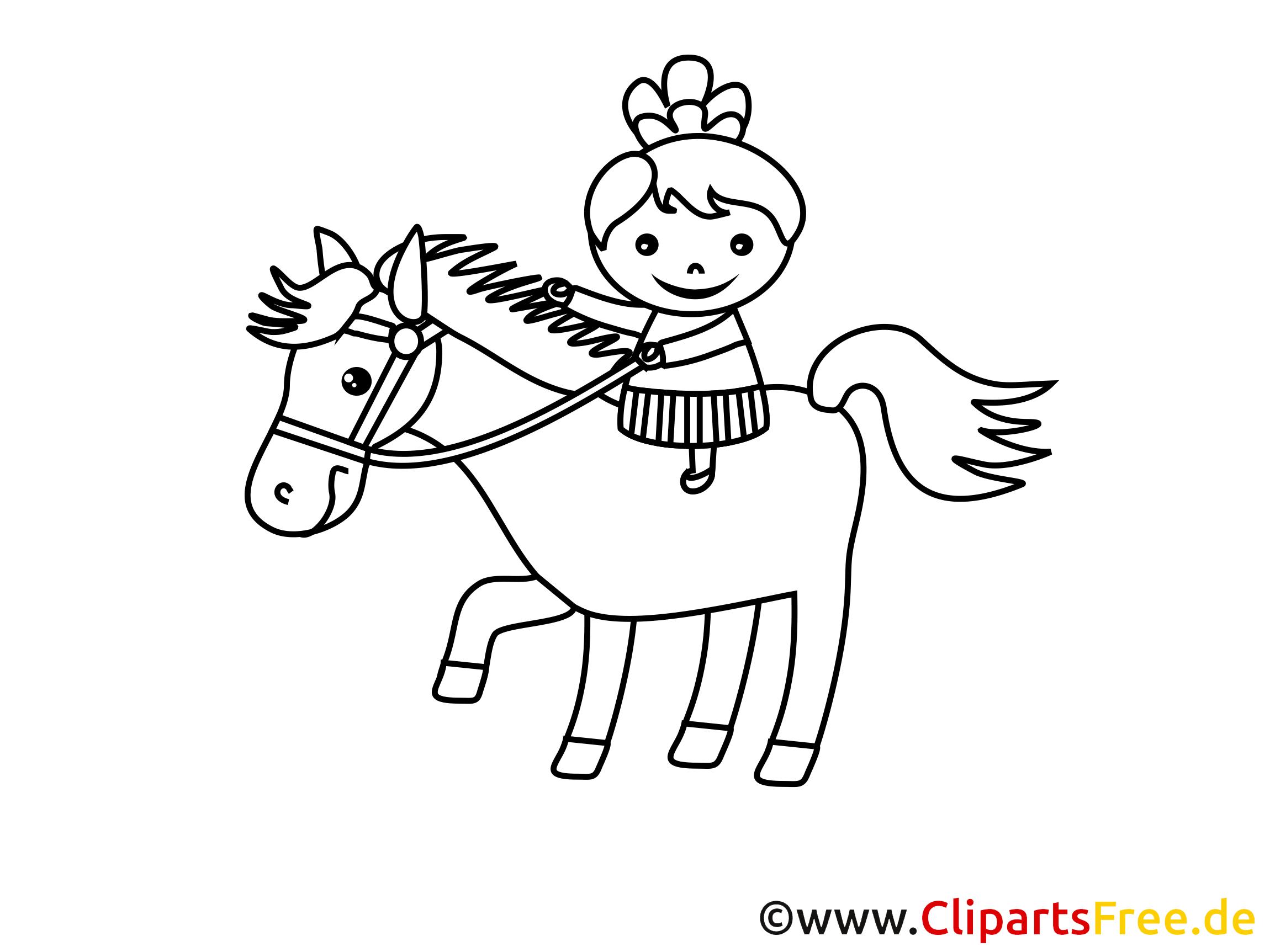 Écuyère clip art – Fille image à colorier