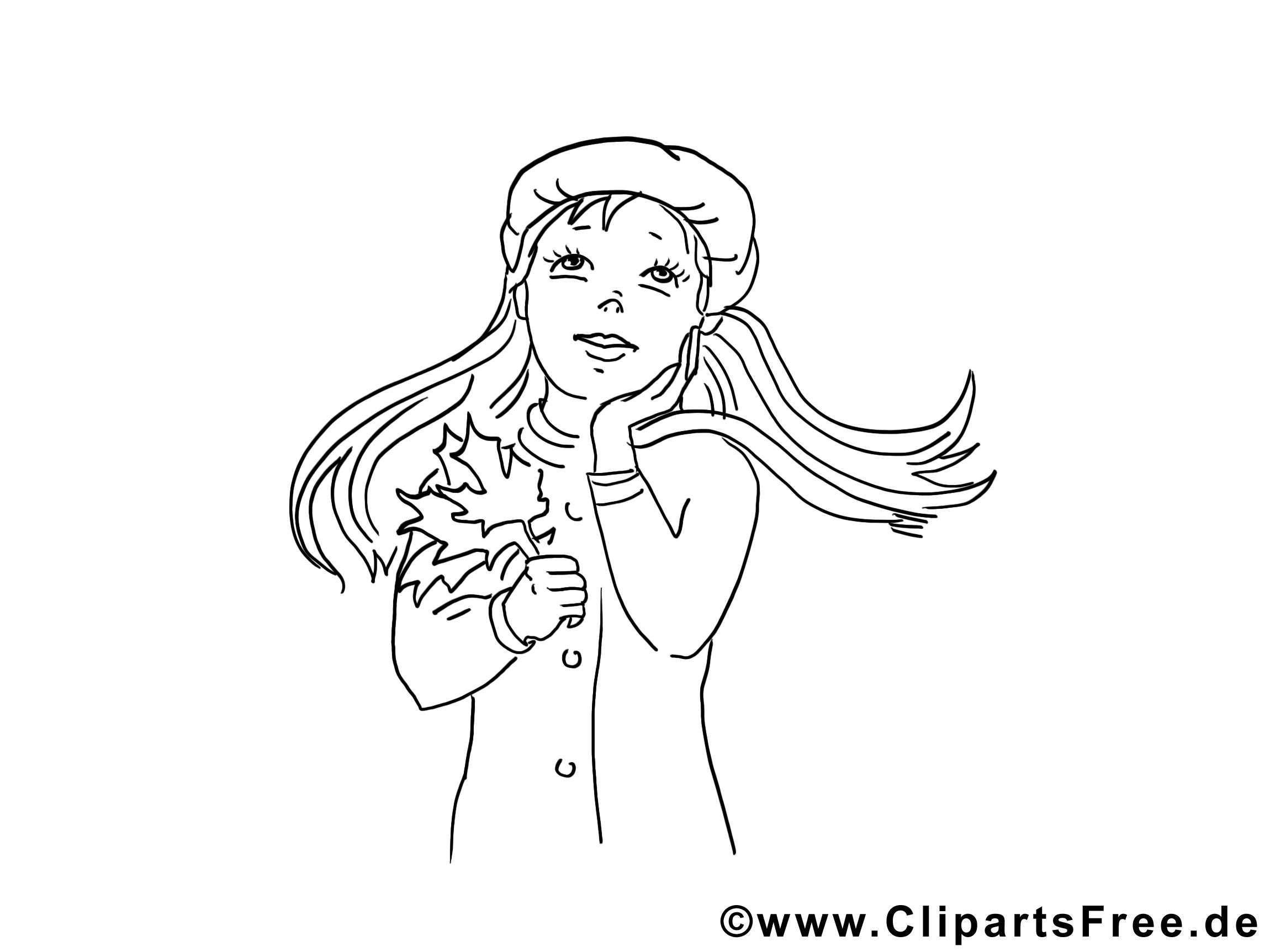 Feuilles dessins gratuits – Fille à colorier