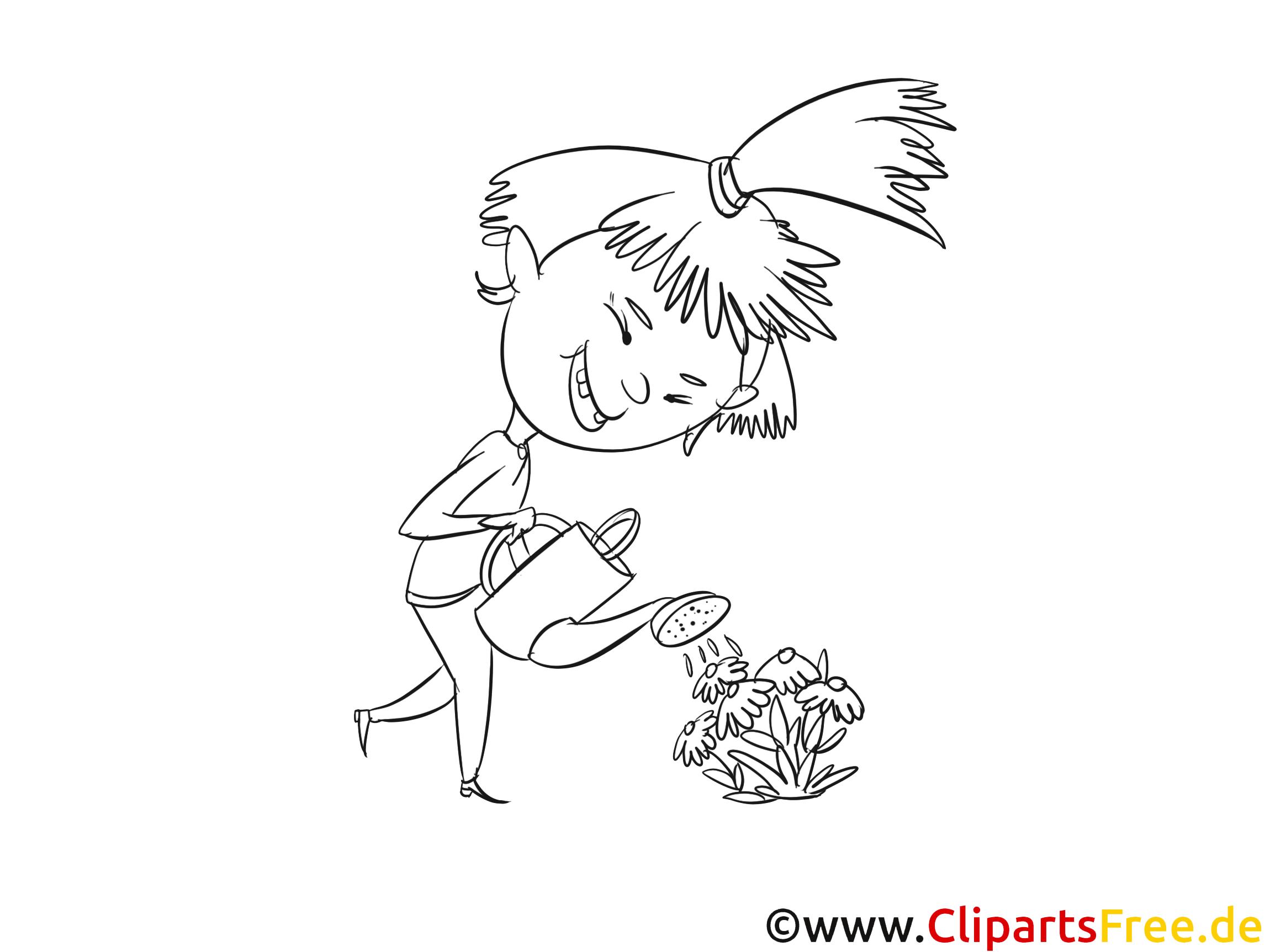 Fleurs image – Coloriage fille illustration