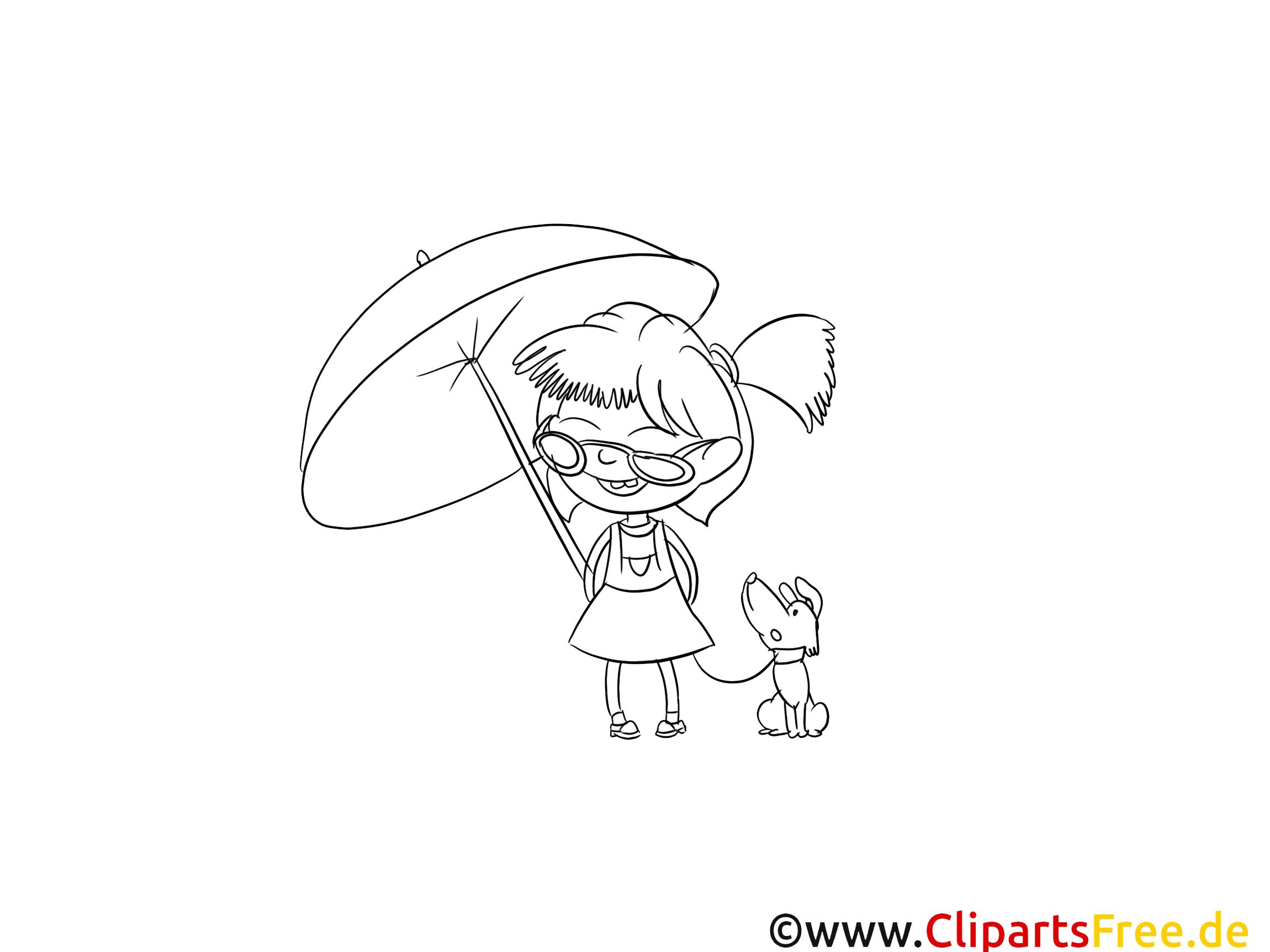 Parapluie chien images gratuites – Fille à colorier