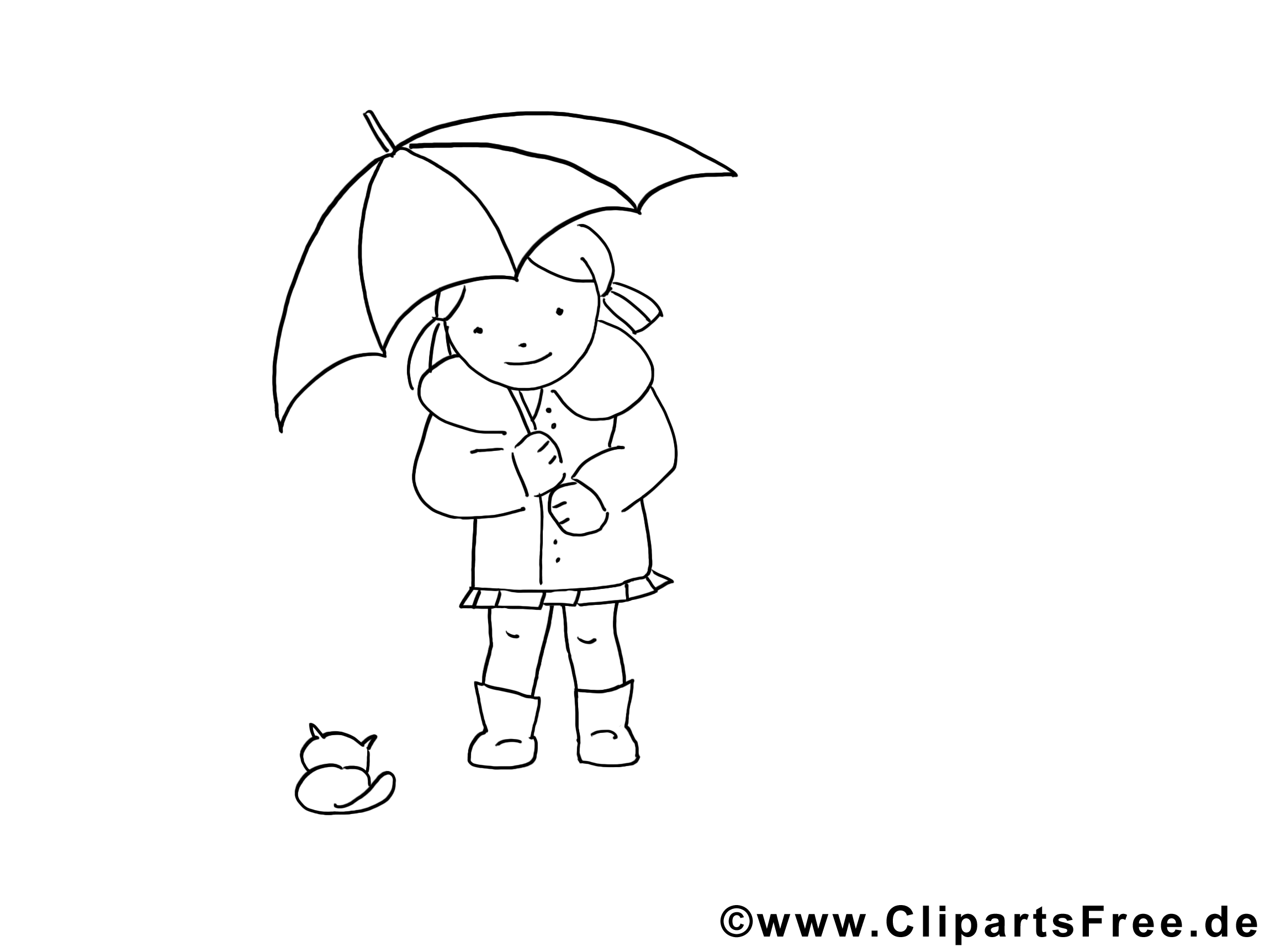 Parapluie images – Fille gratuit à imprimer
