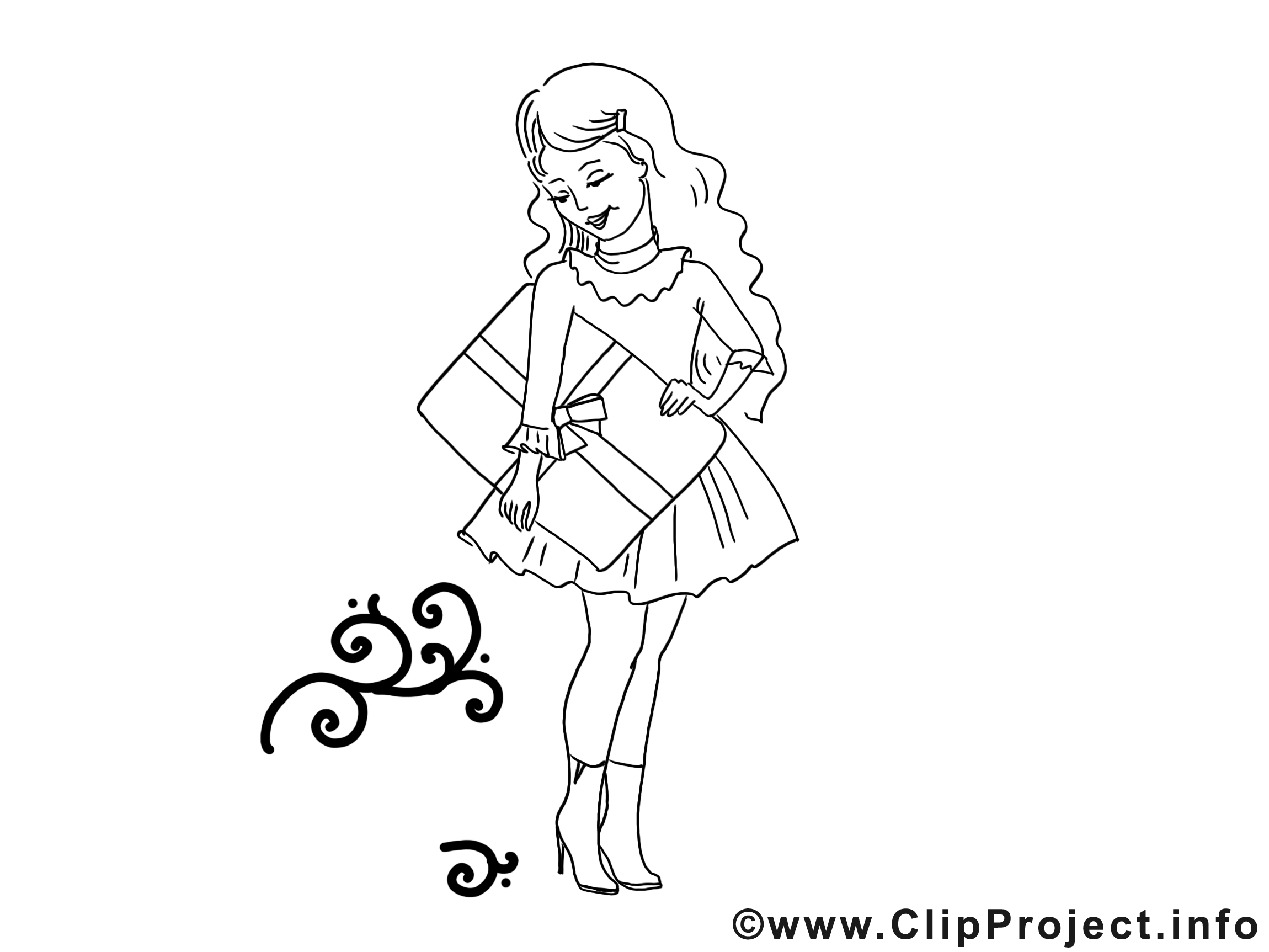 Shopping dessin gratuit – Fille à colorier