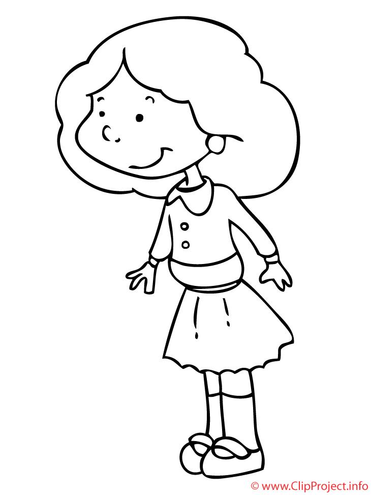 Souriante dessin à télécharger – Fille à colorier