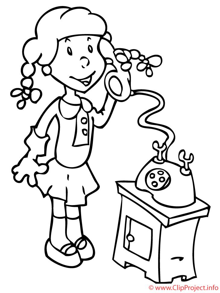 Téléphone image gratuite – Fille à colorier