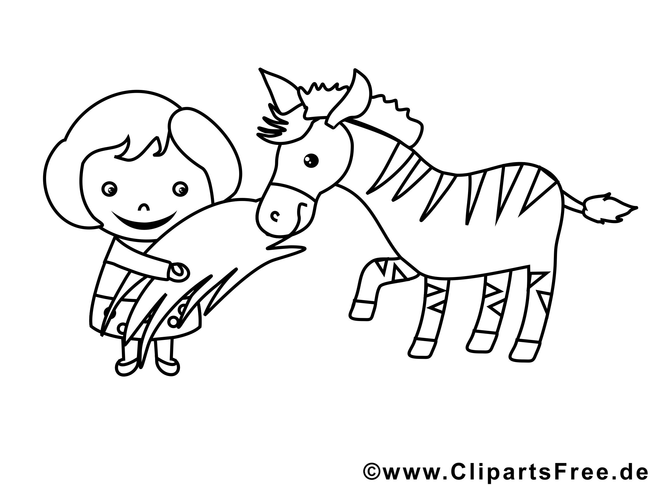 Zèbre clipart gratuit – Fille à colorier