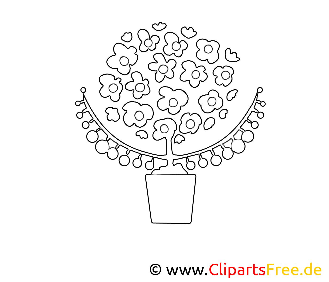 Clip art gratuit vase – Fleurs à imprimer
