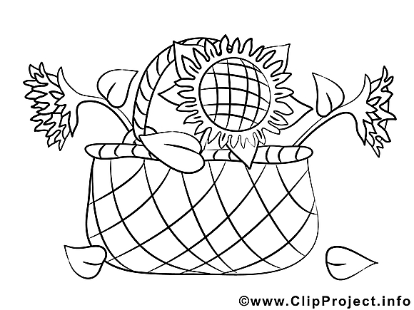 Panier illustration – Coloriage fleurs cliparts