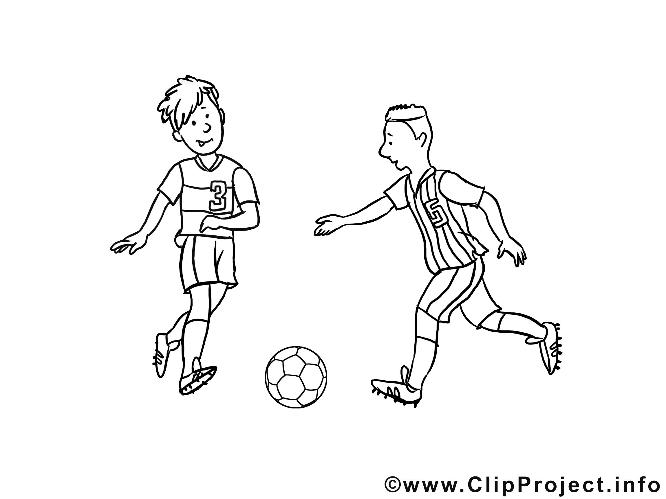 Jeu illustration – Coloriage football cliparts