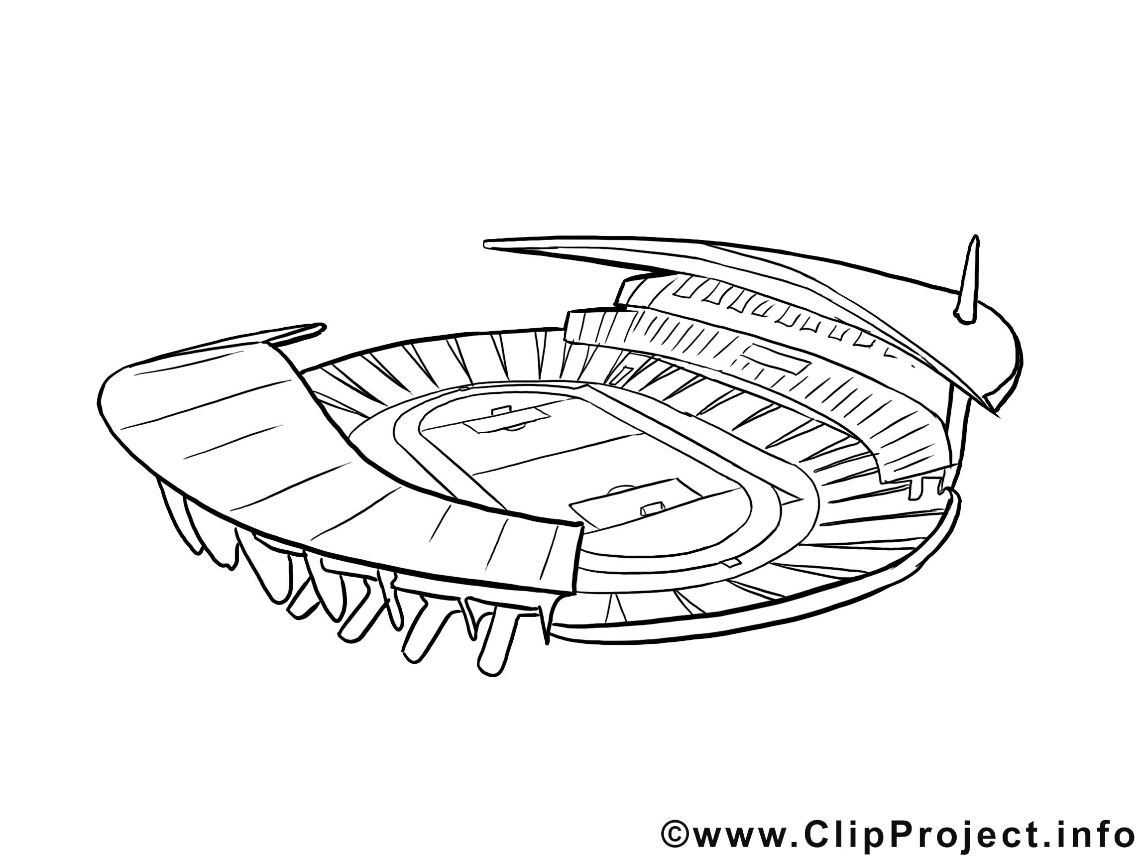 Stade clip art gratuit – Football à colorier