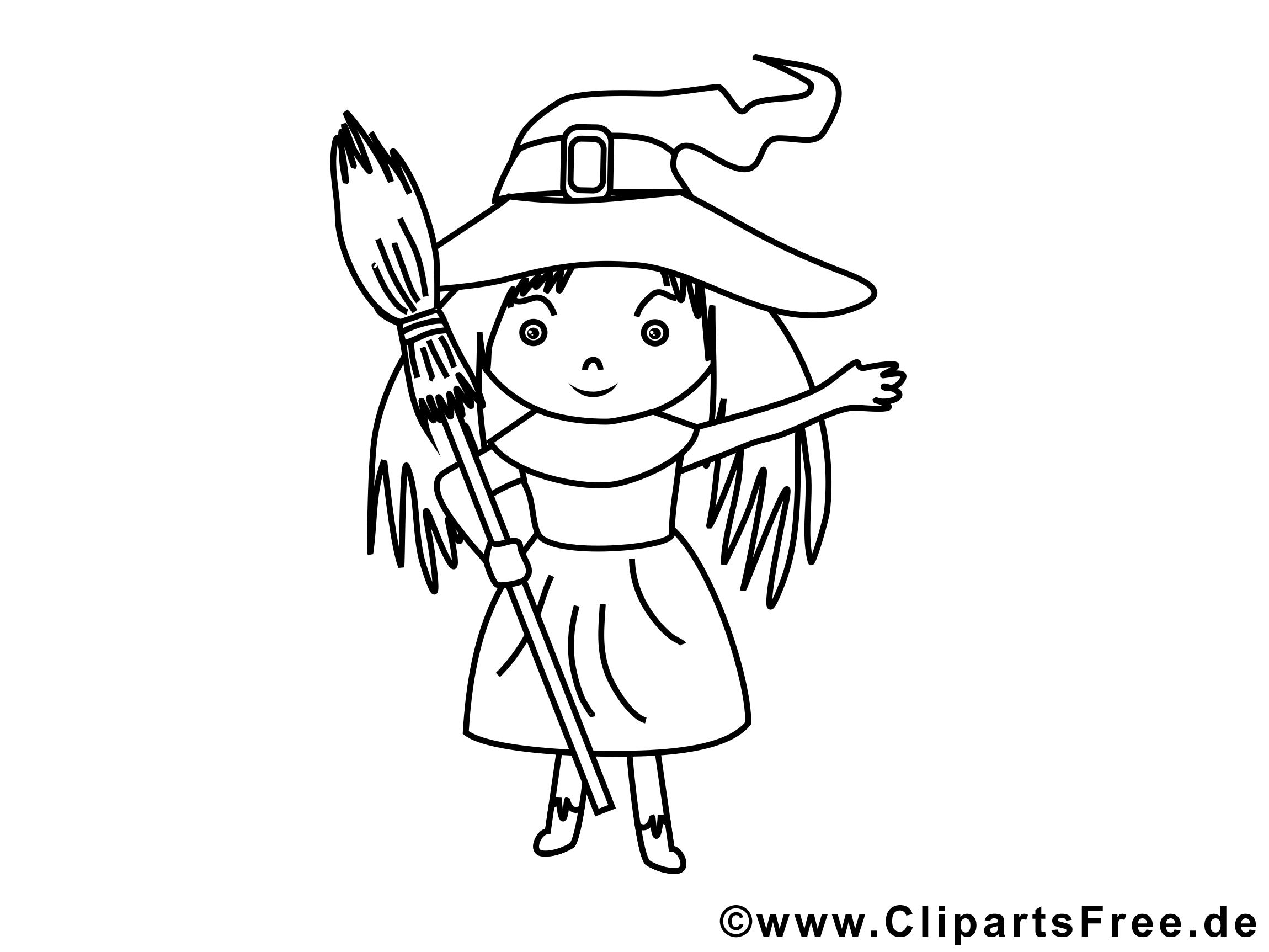Balai dessin – Coloriage halloween à télécharger