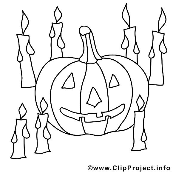 Bougies images gratuites – Halloween à colorier