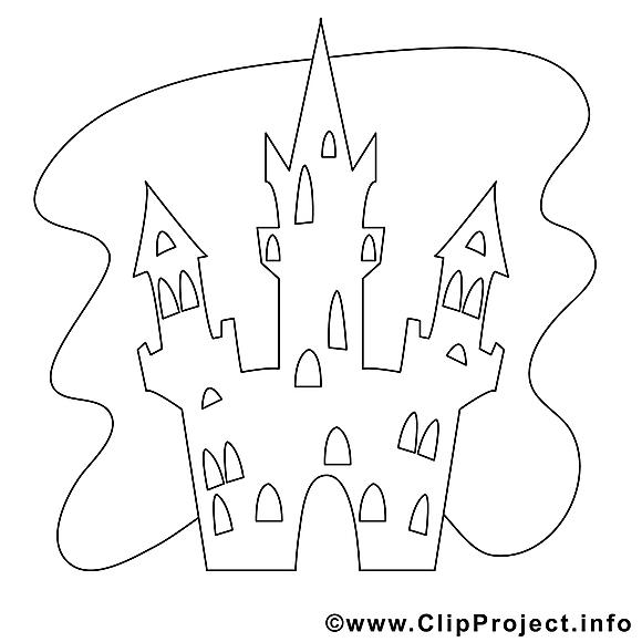Château clip art gratuit – Halloween à colorier