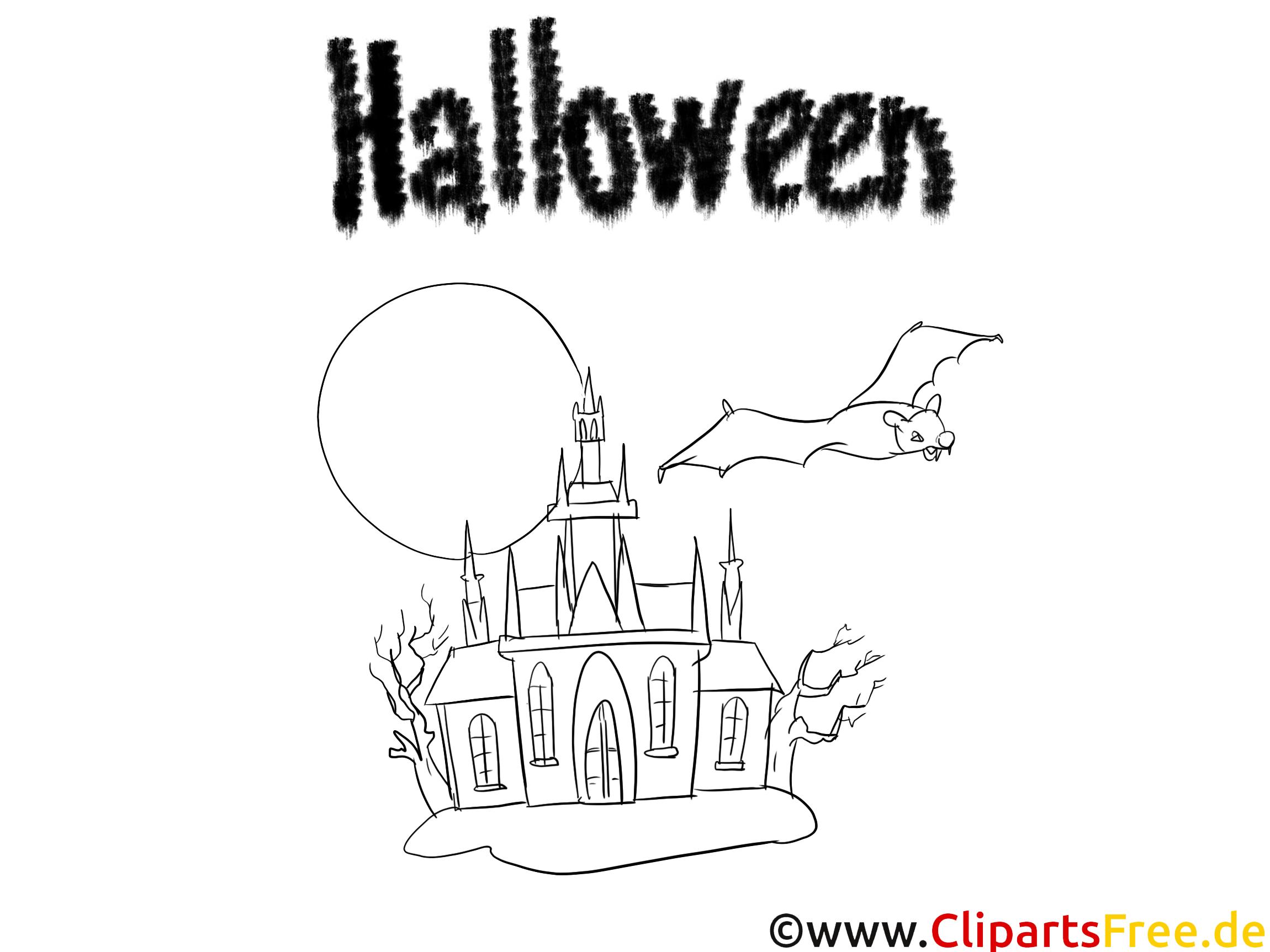 Château clipart gratuit – Halloween à colorier