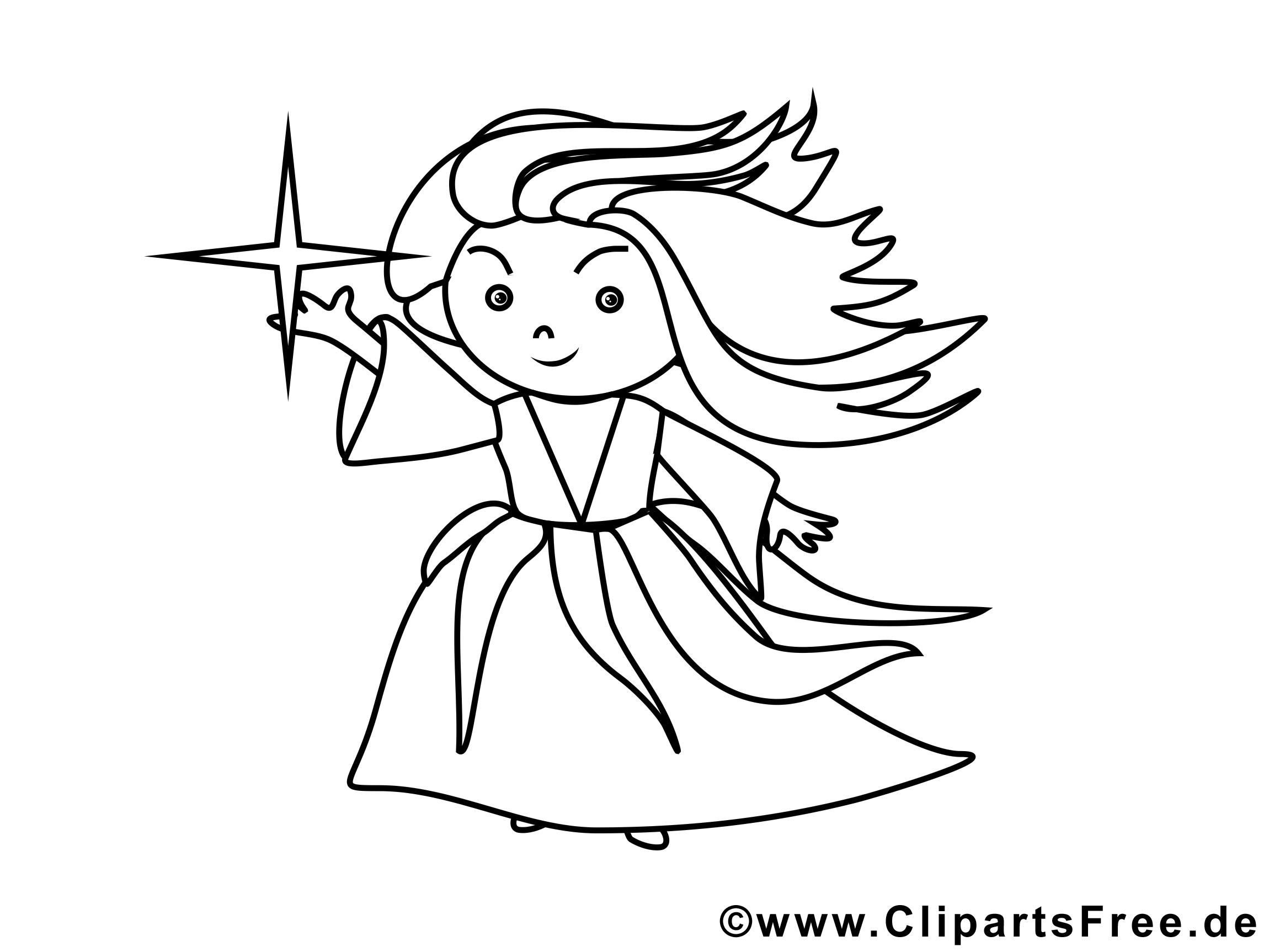 Clip art sorcière – Halloween image à colorier