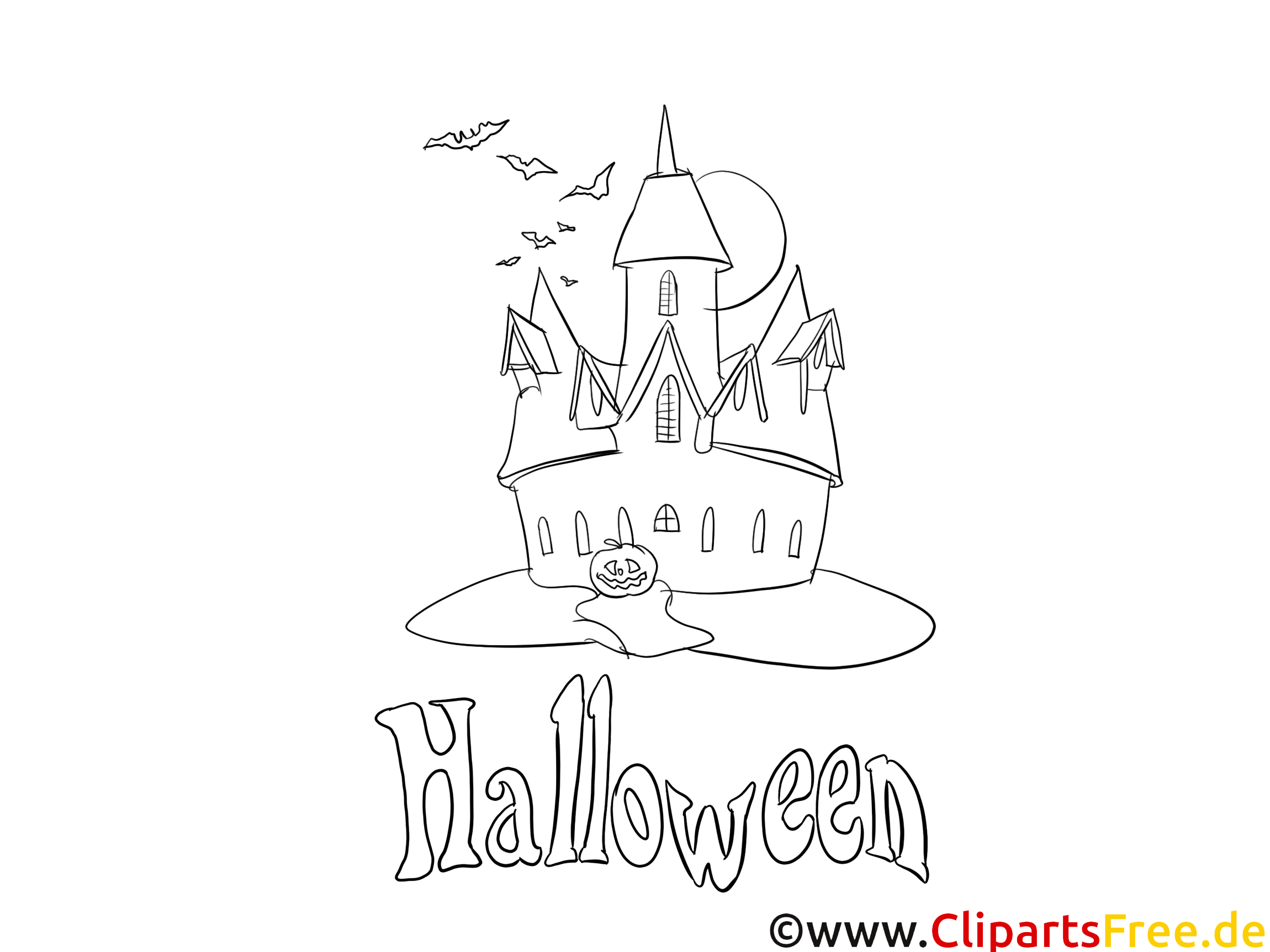 Clipart gratuit chauve-souris – Halloween à colorier