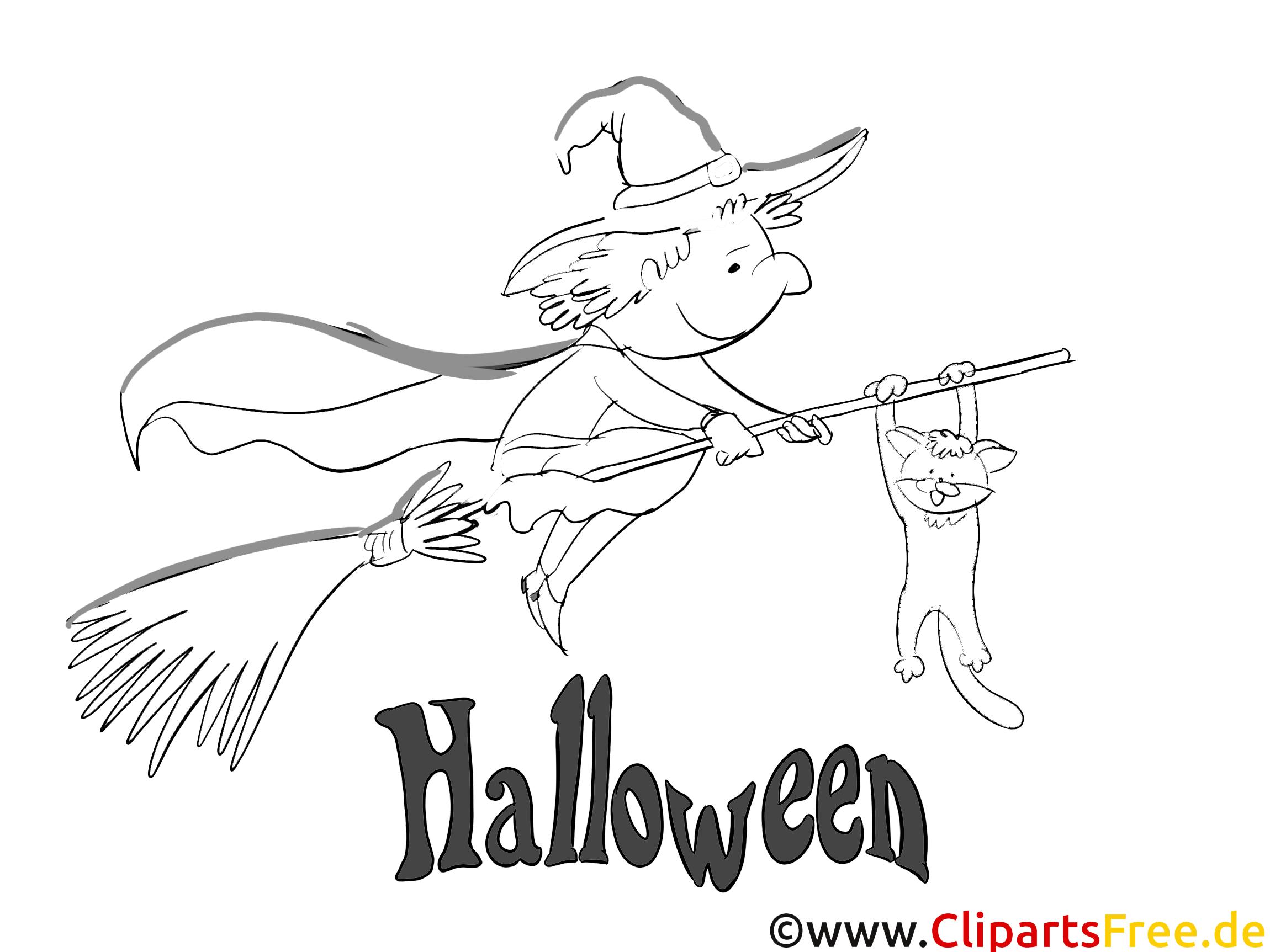 Coloriage sorcière halloween image à télécharger
