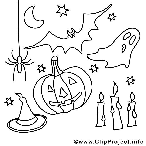 Décoration clipart gratuit – Halloween à colorier