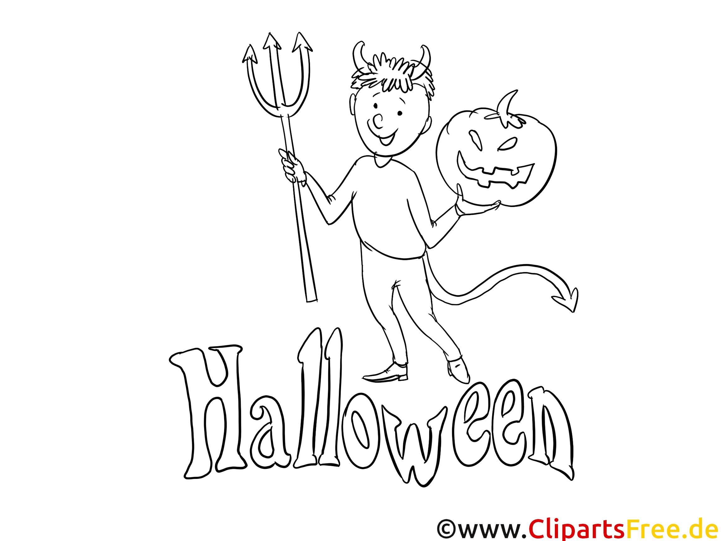 Diable clip art gratuit – Halloween à colorier