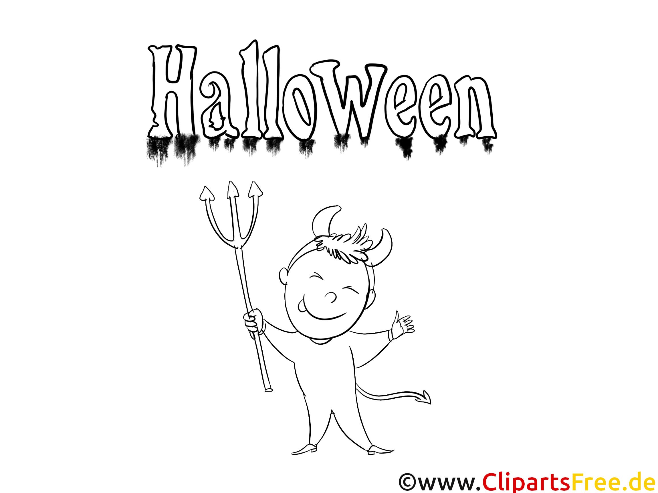 Diable clipart – Halloween dessins à colorier