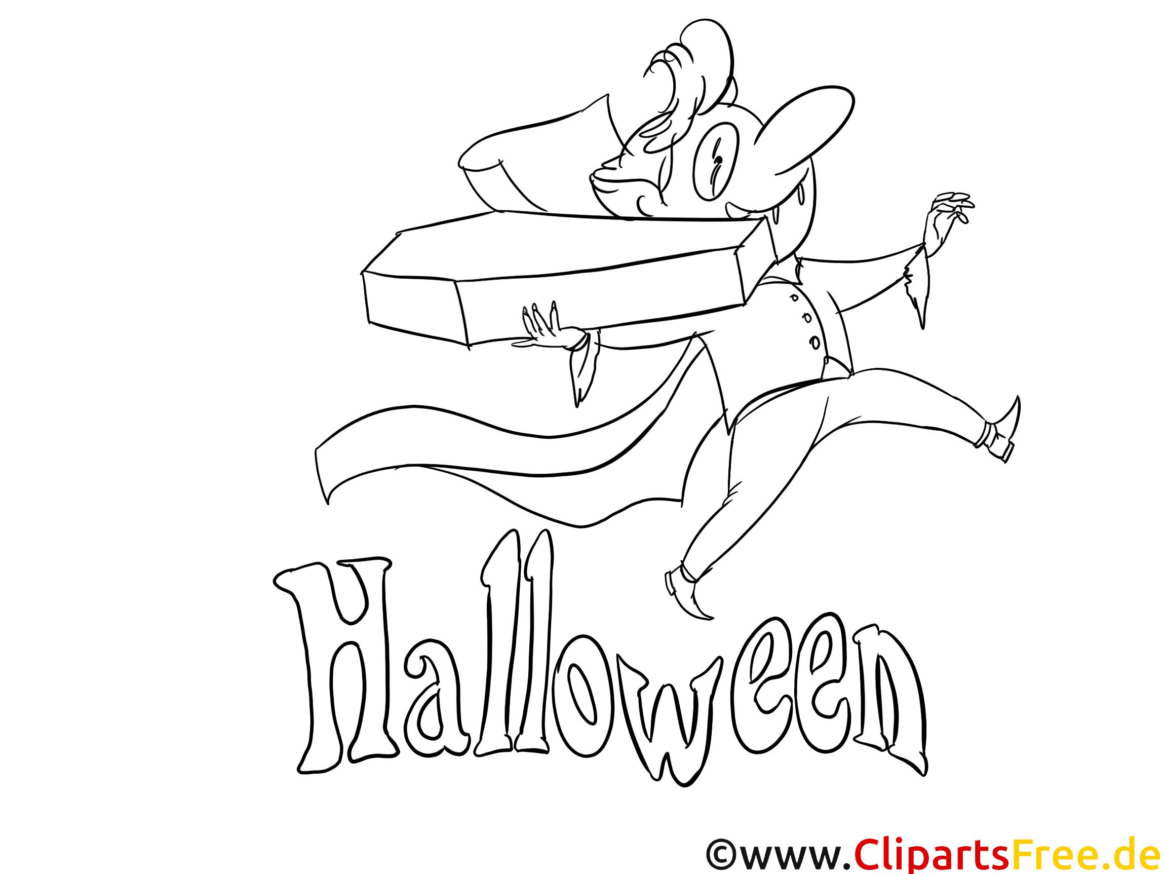 Dracula clip art gratuit – Halloween à colorier