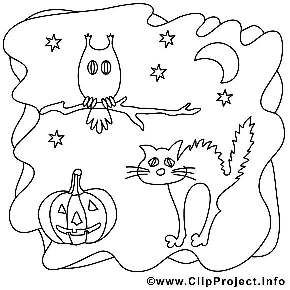 Hibou clip art gratuit – Halloween à colorier