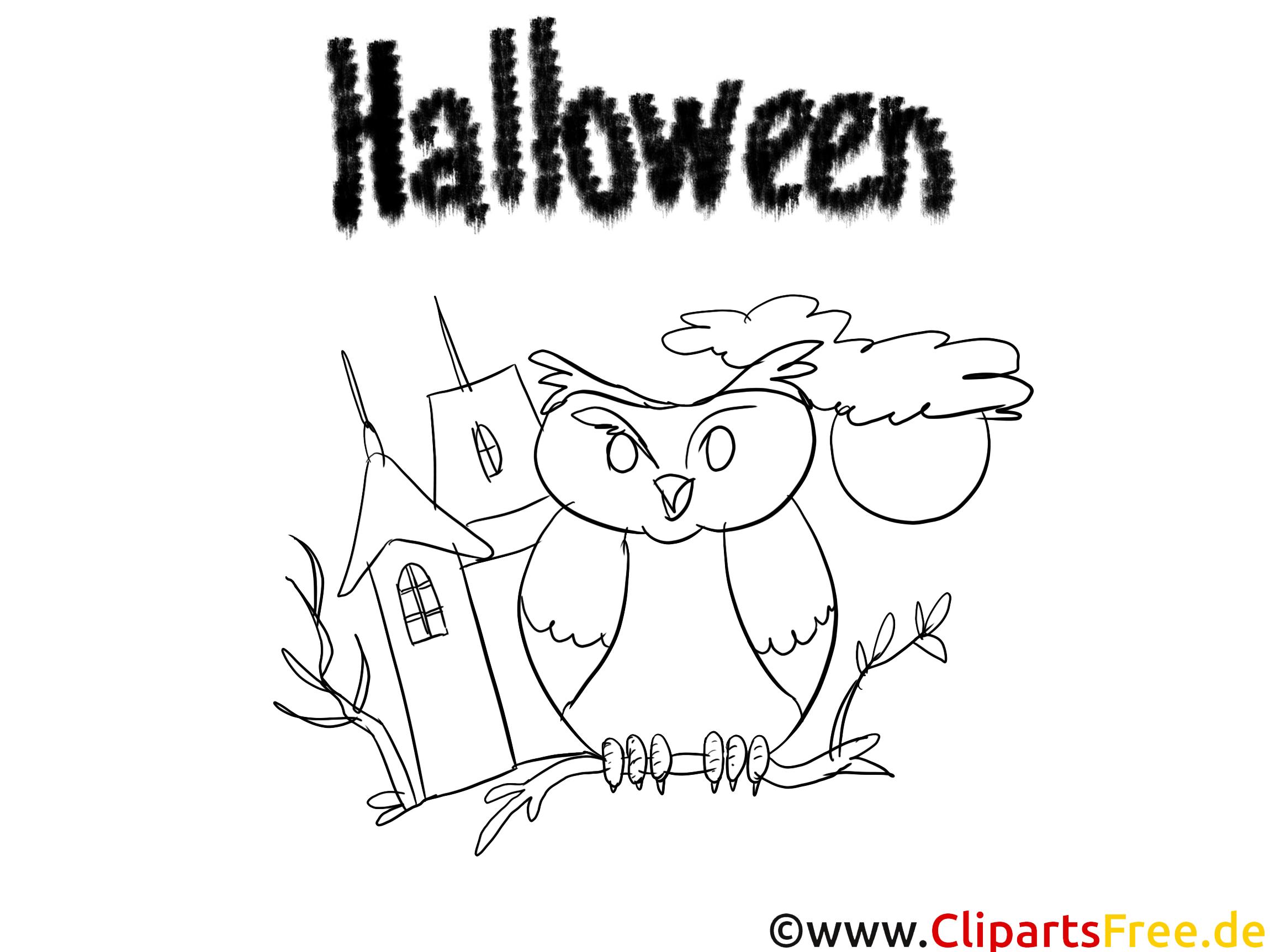 Hibou illustration – Halloween à colorier