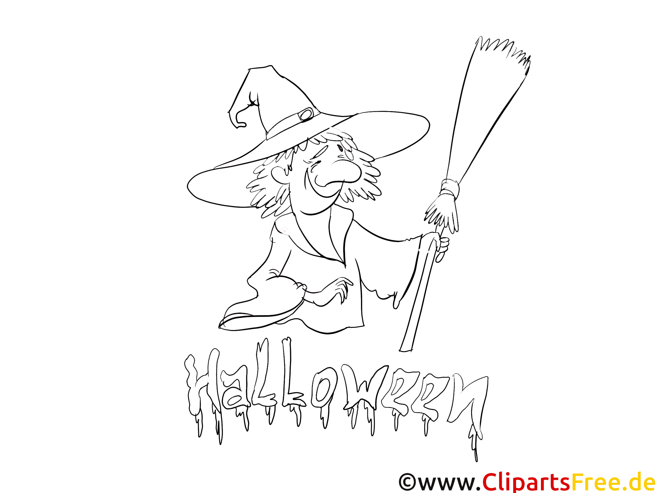 Illustration sorcière – Halloween à colorier
