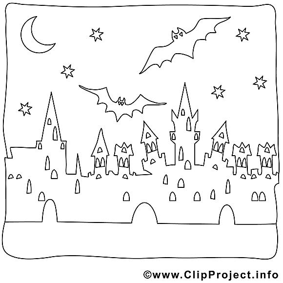 Nuit image à télécharger – Halloween à colorier
