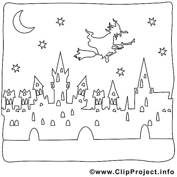 Nuit images gratuites – Halloween à colorier