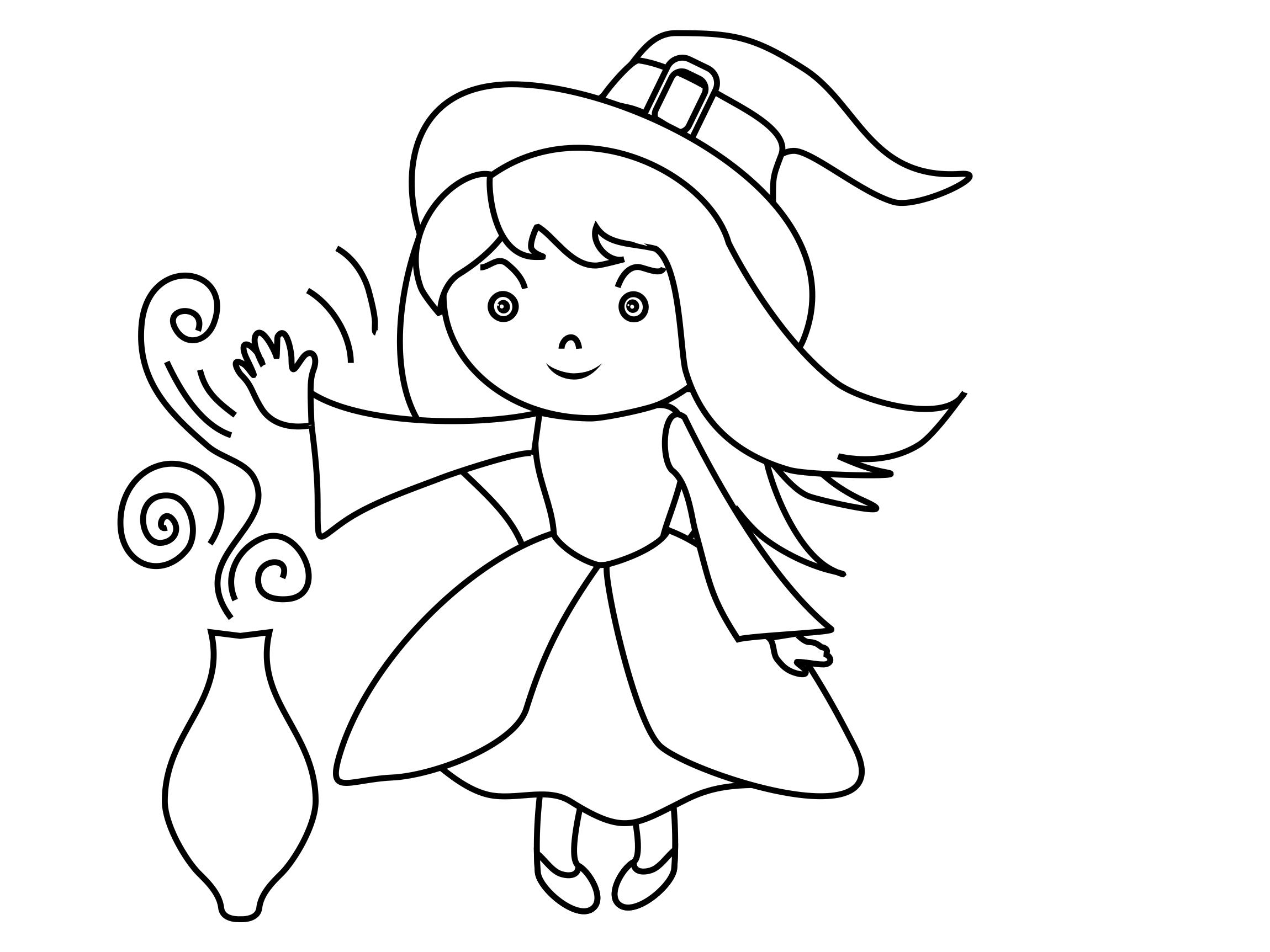 Petite sorcière clip art – Halloween image à colorier