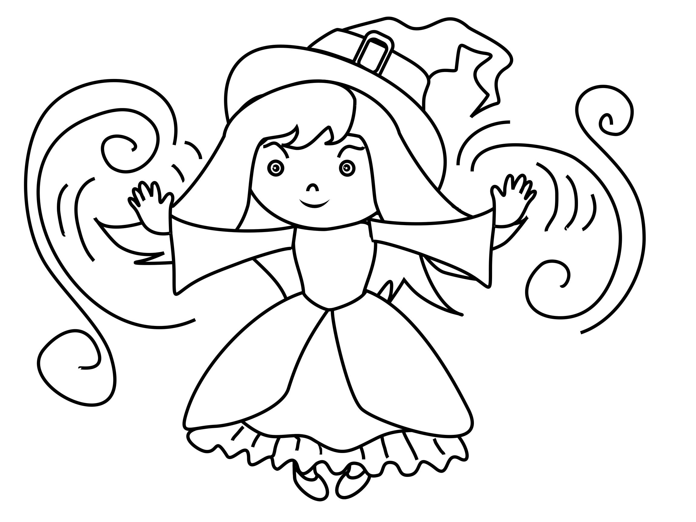 Petite sorcière illustration – Halloween à colorier