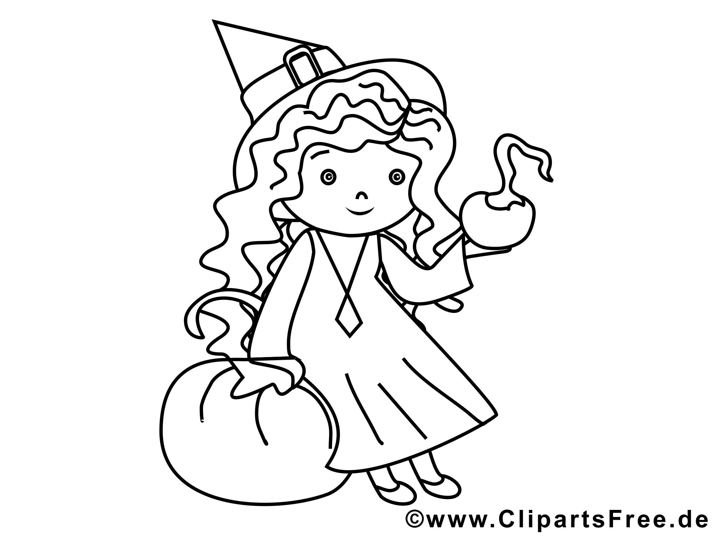 Petite sorcière images gratuites – Halloween à colorier