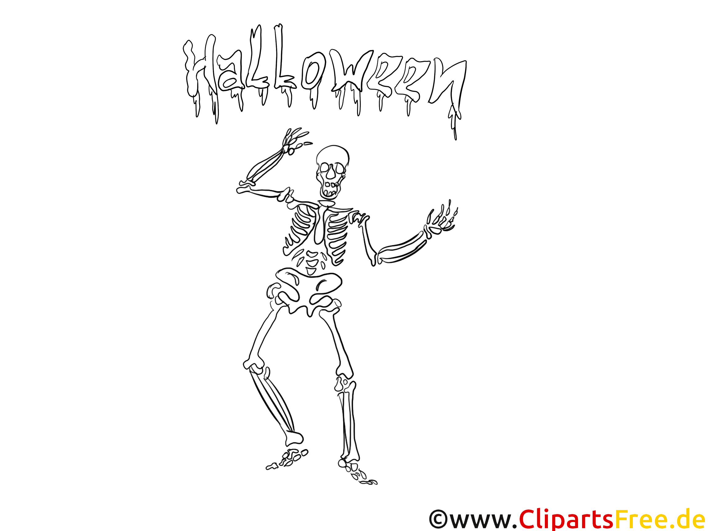 Squelette clipart – Halloween dessins à colorier