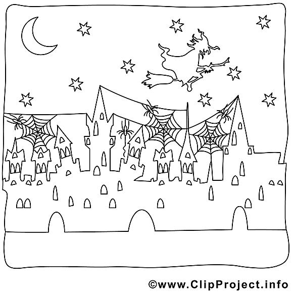 Ville clip arts – Halloween à imprimer